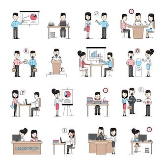Bedrijfsmensen werkplek vlakke pictogrammen instellen