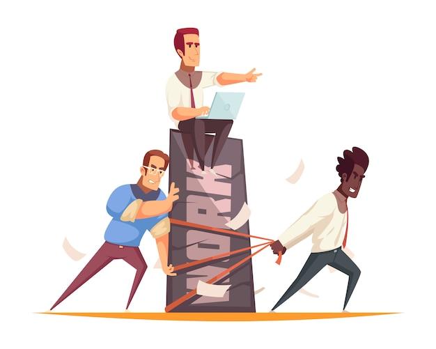 Bedrijfsmensenconcept met team van medewerkers die het harde werk onder leiding van werkgever uitvoeren