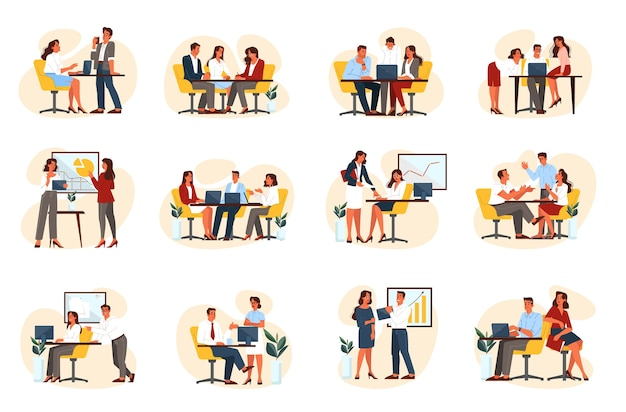 Bedrijfsmensengroep ingesteld op hun werkplek. verzameling van kantoorpersoneel, concept van partnerschap, teamwerk, samenwerking.