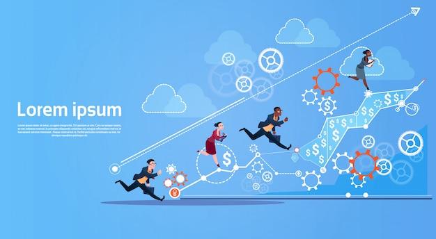Bedrijfsmensengroep run team finance graph competition concept