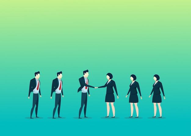 Bedrijfsmensenillustratie van de manvrouw van de groepswerkovereenkomst