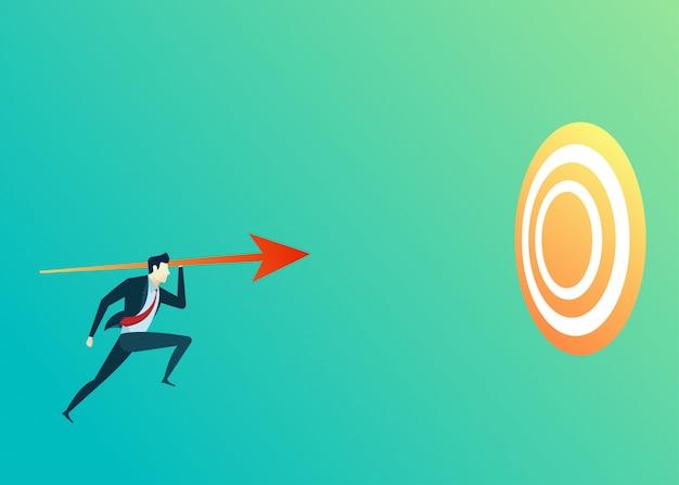 Bedrijfsmensenillustratie van de richtingspijl van de leiderspruit