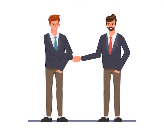 Bedrijfsmensenmensen op overeenkomsten en het schudden handenconcept