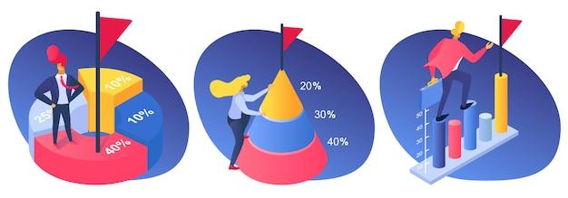 Bedrijfsmensenprestatie met percentagegrafiek, succesfinanciëngroei tot doelillustratie. bedrijfsmarketingdiagram