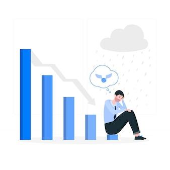 Bedrijfsmislukking concept illustratie Gratis Vector