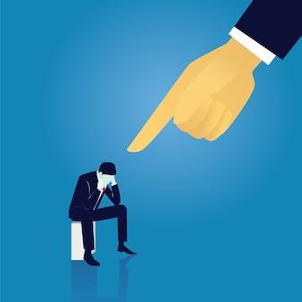 Bedrijfsmislukking schuldig zakenman concept