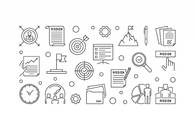 Bedrijfsmissie statement in outine icons set