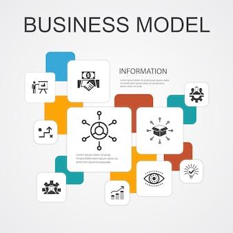 Bedrijfsmodel infographic 10 lijn pictogrammen template.strategie, teamwork, marketing, oplossing eenvoudige pictogrammen