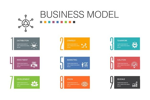 Bedrijfsmodel infographic 10 optie lijn concept.strategie, teamwork, marketing, oplossing eenvoudige pictogrammen