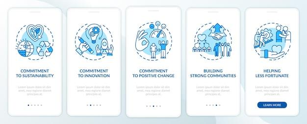 Bedrijfsmoraal onboarding mobiele app paginascherm met concepten