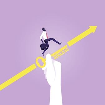 Bedrijfsondersteuning voor succesconcept, grote hand helpt zakenman om een doel te bereiken