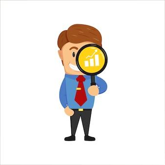 Bedrijfsonderzoekanalist die door vergrootglas kijkt