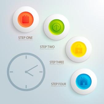 Bedrijfsontwerpconcept met afbeelding van klok en kleurrijke pictogrammen in vlakke cirkels