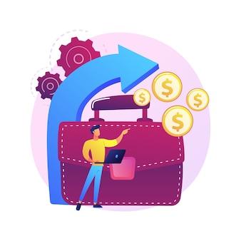 Bedrijfsontwikkeling richting. bedrijfsgroei, inkomen verhogen, winst verhogen. succesvolle zakenman die geldinvestering overweegt