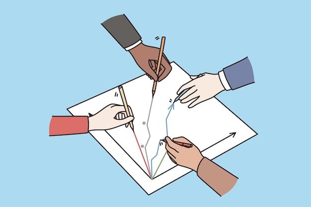 Bedrijfsontwikkeling, workshop en strategieconcept. handen van zakenmensen team in kaart brengen tekening succes pijlen samen vectorillustratie