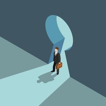 Bedrijfsoplossing concept. zakenman die zich op de grote isometrische illustratie van de sleutelgatdeuropening bevinden.