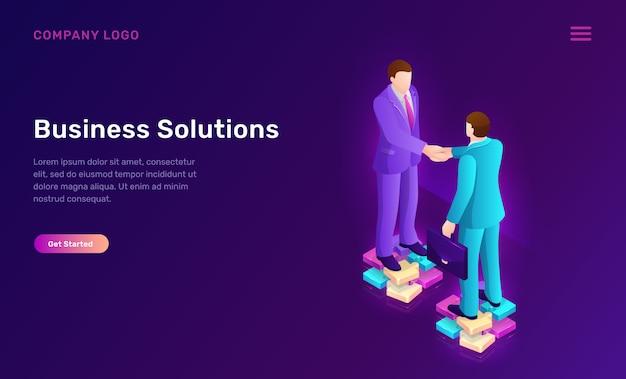 Bedrijfsoplossing en overeenkomst isometrisch concept