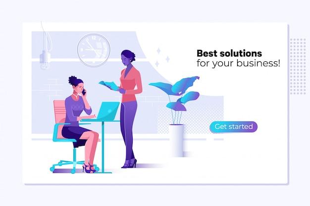 Bedrijfsoplossingen, consulting, marketing, ondersteuningsconcept