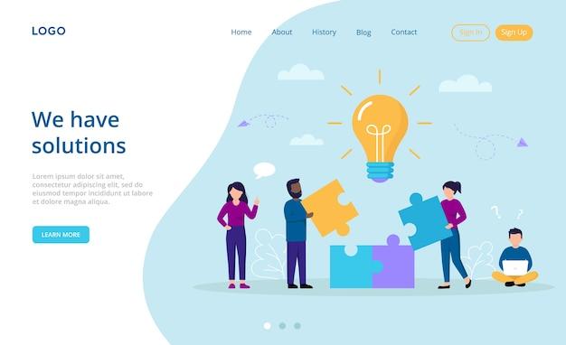 Bedrijfsoplossingen, perspectieven, teamwerkconcept. cartooncompositie met creatieve personages die delen van de puzzel samenvoegen om de foto te maken.