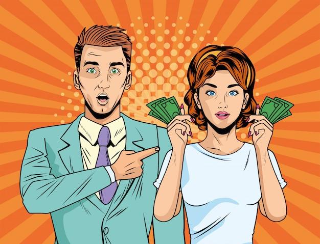 Bedrijfspaar met karakters van de het pop-artstijl van rekeningendollars