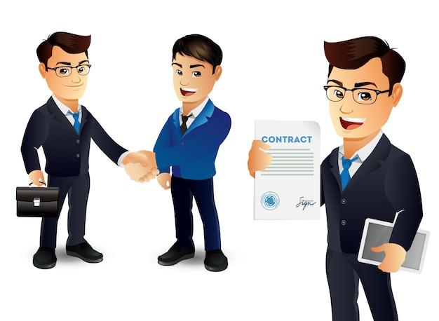 Bedrijfspaar samen en handen schudden