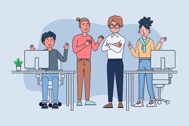 Bedrijfspersoneel praten en werken op kantoor