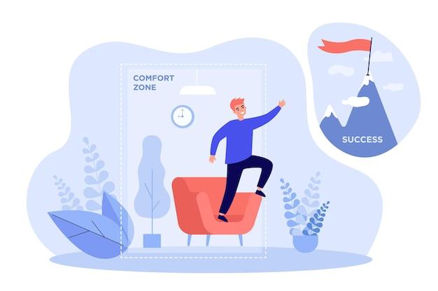 Bedrijfspersoon die de comfortzone verlaat. duizendjarige man werkt aan verandering, zoekt naar top en succes
