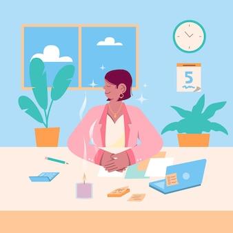 Bedrijfspersoon die vreedzaam mediteert