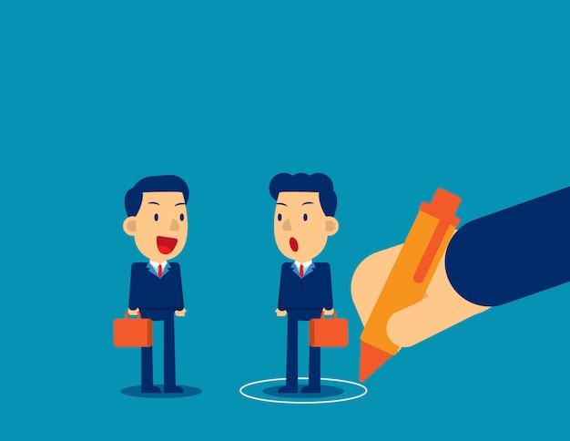 Bedrijfspersoon in cirkel en uit