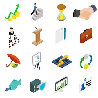 Bedrijfspictogrammen die in isometrische 3d stijl op wit worden geplaatst