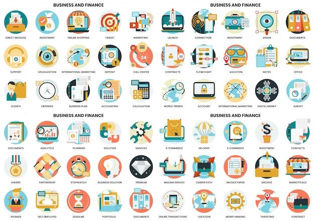 Bedrijfspictogrammen die voor zaken, marketing, beheer worden geplaatst