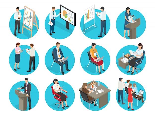 Bedrijfspictogrammen met geplaatste beambten. ondernemers en zakenvrouwen tonen presentatie, typen op laptop en spreekt van podium