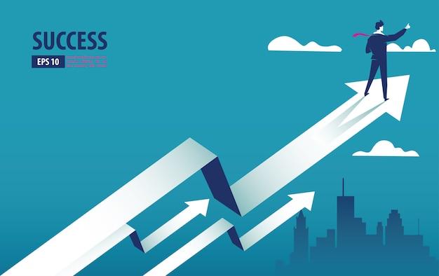 Bedrijfspijlconcept met zakenman op pijl die naar succes vliegt