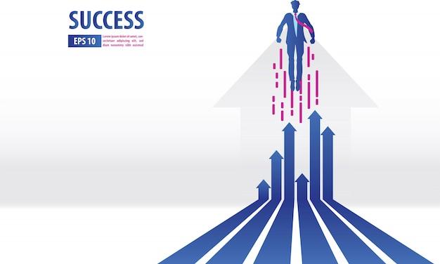 Bedrijfspijlenconcept met zakenman die aan succes vliegen