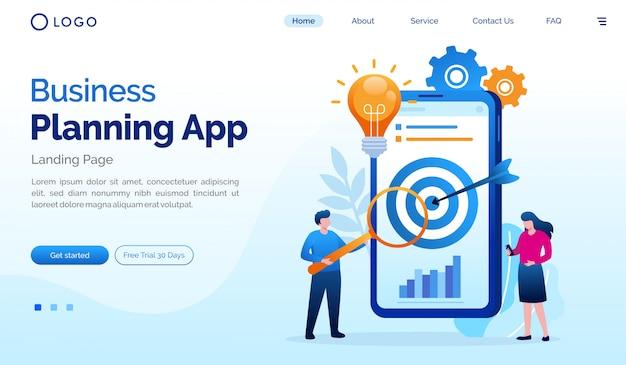 Bedrijfsplanning app bestemmingspagina website vlakke afbeelding vector sjabloon