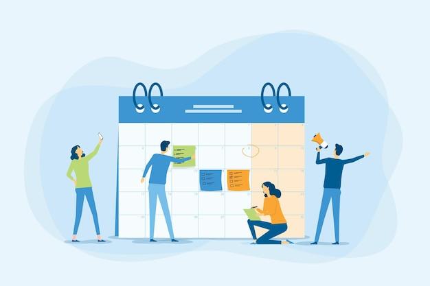 Bedrijfsplanning en bedrijfsmensenteam dat met digitale online kalender werkt