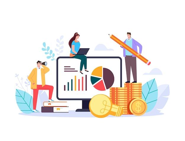Bedrijfsplanning stijgt op zoek naar toekomstige analyse tot illustratie