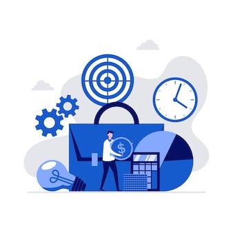Bedrijfsportefeuille, financiële statistieken, analyse en beheerconcept met karakters.