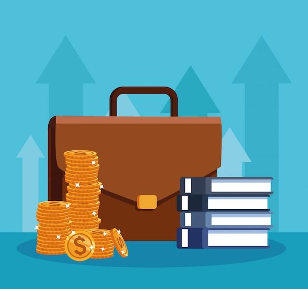 Bedrijfsportefeuille met boeken en geldmuntstukken