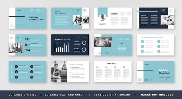 Bedrijfspresentatie brochure gids ontwerp of pitch deck dia-sjabloon of verkoopgids schuifregelaar