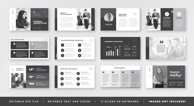 Bedrijfspresentatie brochure-gidsontwerp of powerpoint-dia-sjabloon of sales guide-schuifregelaar