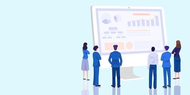 Bedrijfspresentatie concept, bedrijfsvergadering over financiële situatie.