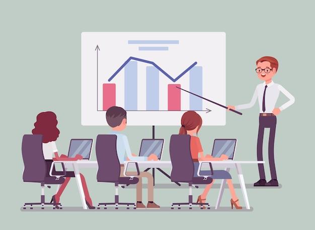 Bedrijfspresentatie en briefing op kantoor