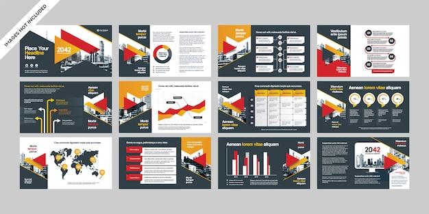 Bedrijfspresentatie met infographics-sjabloon.