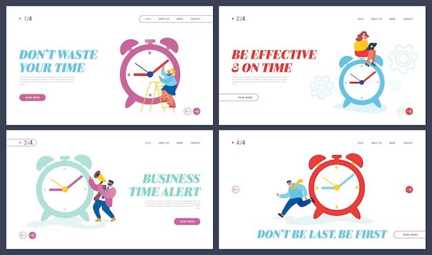 Bedrijfsproces, bestemmingspagina van website voor tijdbeheer