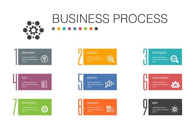 Bedrijfsproces infographic 10 optie lijn concept.implement, analyseren, ontwikkeling, verwerking van eenvoudige pictogrammen