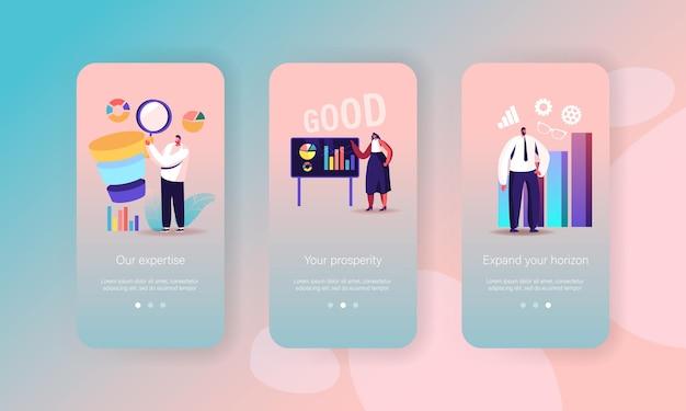 Bedrijfsproces mobiele app-pagina onboard-schermsjabloon
