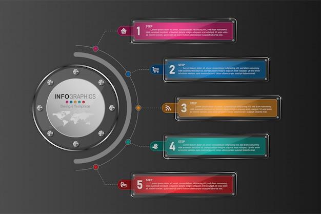 Bedrijfsproces tijdlijn infographics 5 stappen.