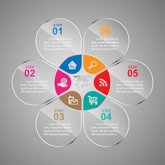Bedrijfsproces tijdlijn infographics 6 stappen.
