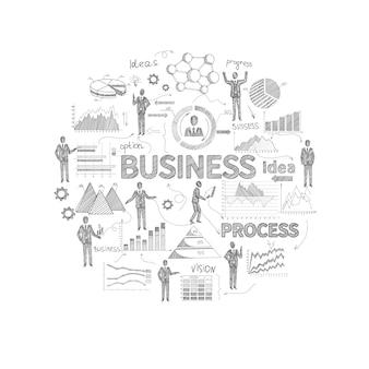Bedrijfsprocesconcept met schetspersoneel en de grafieken van het financiënrapport